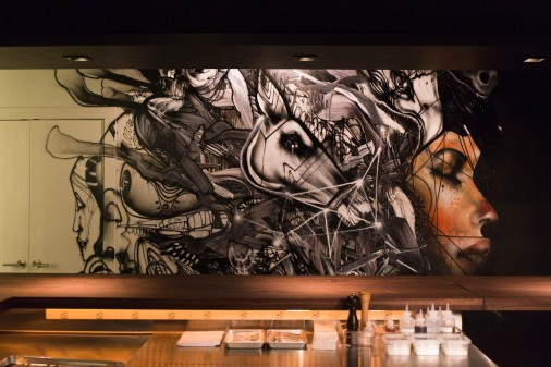 momofuku ko interior with artwork by david choe