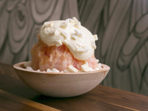 Grapefruit Kakigori with Whipped Cream and Meringue Crumbles