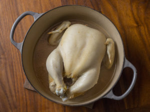 Whole boiled chicken