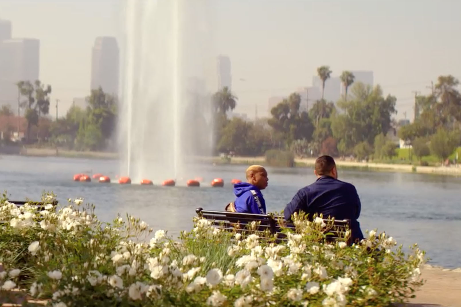 david chang and lena waithe by a fountain