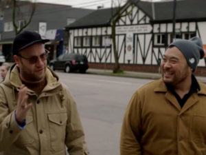 seth rogen and david chang walk down street