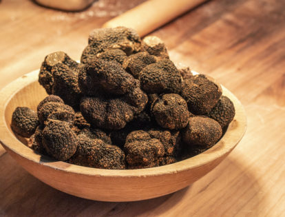 bowl of black truffles