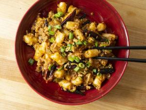 bowl of pork sausage rice cakes