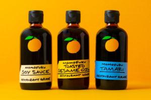 three bottles of momofuku products