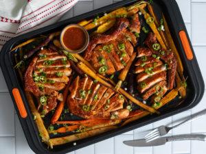 spicy pork sheet pan dinner