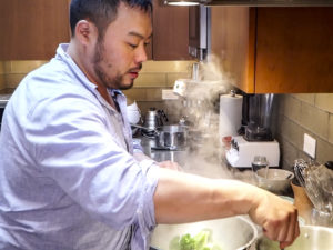 dave steaming vegetables
