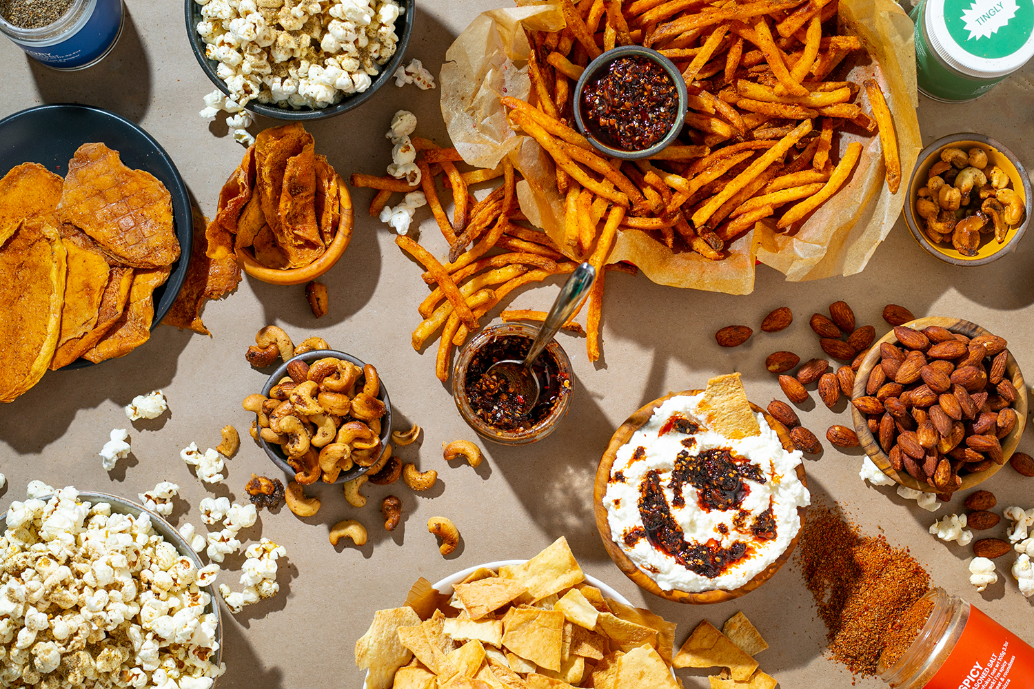 table of snack foods