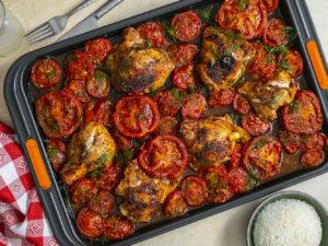 hot honey chicken sheet pan dinner