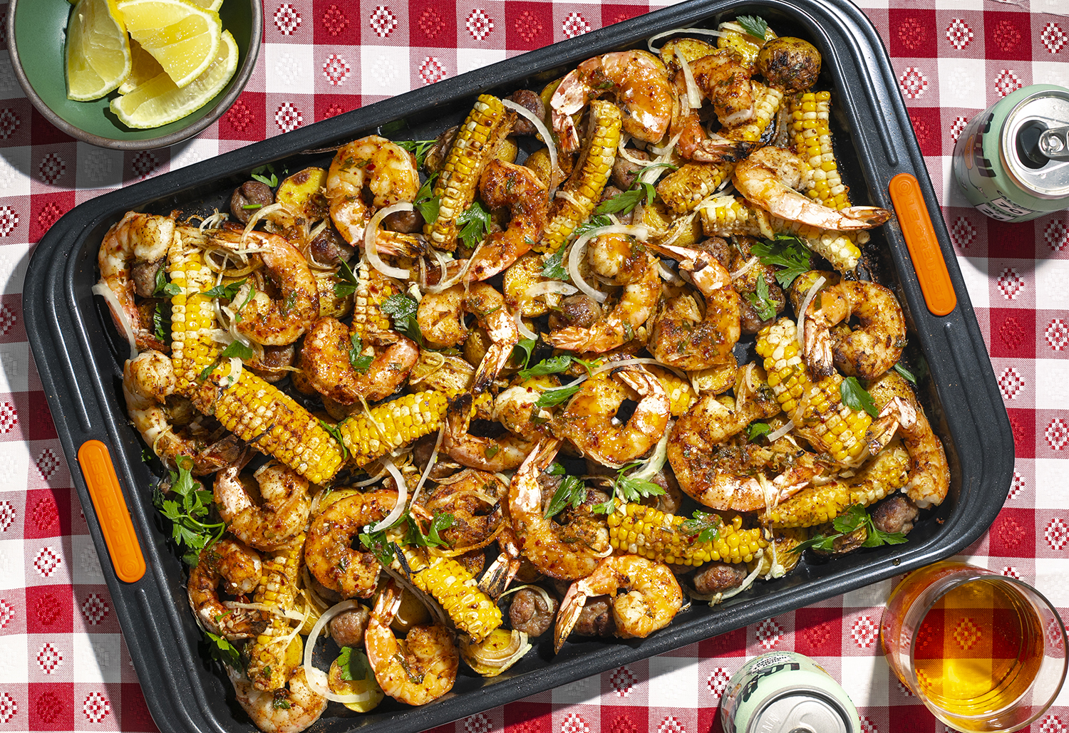 """Sheet Pan Shrimp """"Boil"""" with Sausage Meatballs and Spicy Corn Ribs"""
