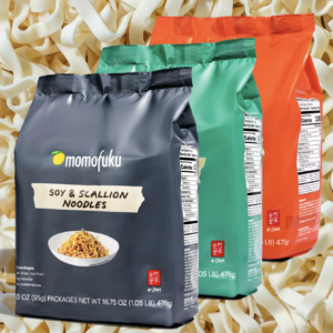 three flavors of noodles on dried noodles